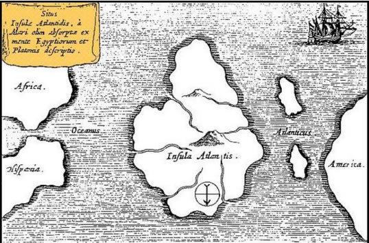 1669 map by Athanasius Kircher. Map has south at the top.